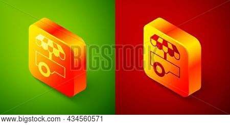 Isometric Fast Street Food Cart With Awning Icon Isolated On Green And Red Background. Urban Kiosk.