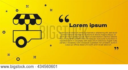 Black Fast Street Food Cart With Awning Icon Isolated On Yellow Background. Urban Kiosk. Vector