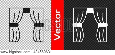 Black Circus Curtain Raises Icon Isolated On Transparent Background. For Theater Or Opera Scene Back