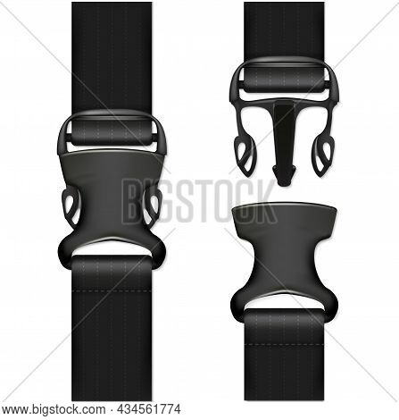 Realistic Detailed 3d Black Quick Release Buckle Set Opened And Closed View. Vector Illustration Of