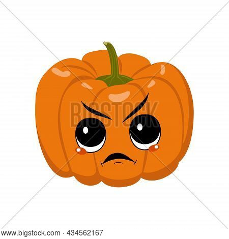 Cute Pumpkin Character With Angry Emotions, Grumpy Face, Furious Eyes. Festive Decoration For Hallow