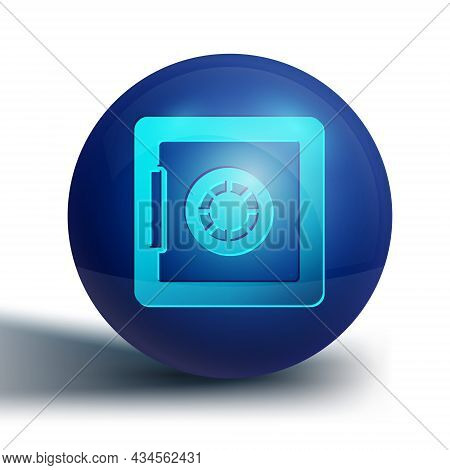 Blue Safe Icon Isolated On White Background. The Door Safe A Bank Vault With A Combination Lock. Rel