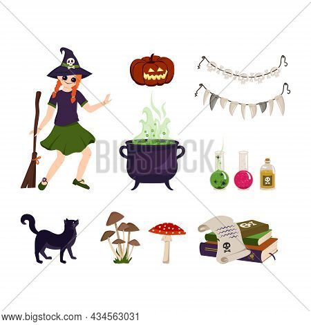 Set Of Festive Elements For Halloween. Red Haired Girl Witch With Brooms, Cauldron And Ingredients F
