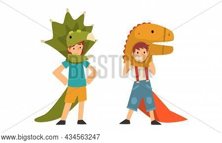 Cute Kid Wearing Dinosaur Costume As Carnival Outfit Vector Set