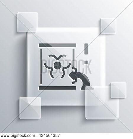 Grey Radioactive Waste In Barrel Icon Isolated On Grey Background. Barrel With Radioactive And Toxic