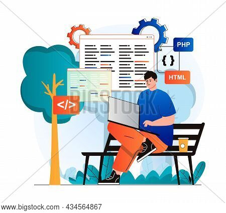 Freelance Working Concept In Modern Flat Design. Man Developer Works At Laptop While Sitting On Park