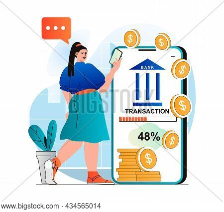 Mobile Banking Concept In Modern Flat Design. Woman Receives Financial Services In Mobile Applicatio