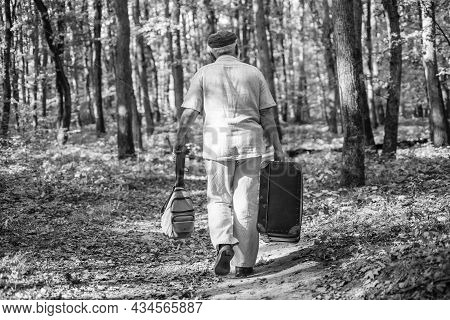 Elderly People. Mature Man With White Beard In Forest. Hobby And Leisure. Grandfather With Vintage S