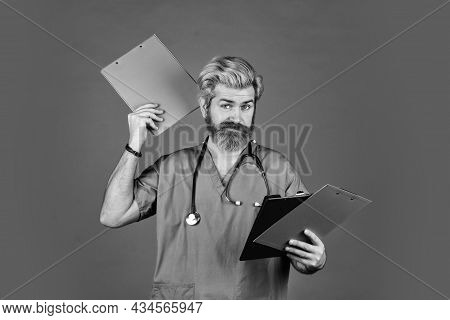 Medical Treatment Concept. Virus Infection Bacteria. Hospital Department. Man Bearded Handsome Docto