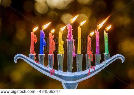 Jewish Holiday Hanukkah With Menorah Traditional Burning Candles On Soft Bokeh