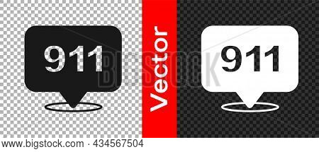 Black Telephone With Emergency Call 911 Icon Isolated On Transparent Background. Police, Ambulance,