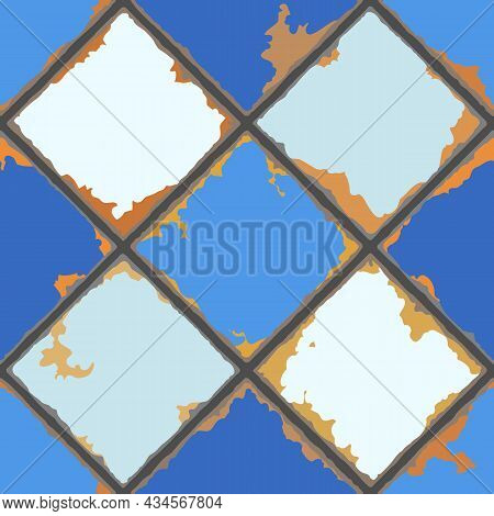 Vintage Ceramic Tile Seamless Pattern. Grunge Background With Chipped Enamel Tile.