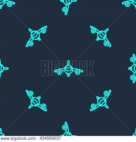Green Line Plane Icon Isolated Seamless Pattern On Blue Background. Flying Airplane Icon. Airliner S