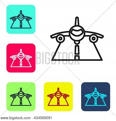 Black Line Plane Icon Isolated On White Background. Flying Airplane Icon. Airliner Sign. Set Icons I