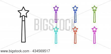 Black Line Magic Wand Icon Isolated On White Background. Star Shape Magic Accessory. Magical Power.