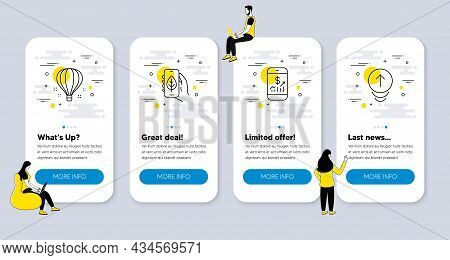 Vector Set Of Technology Icons Related To Mobile Finance, Ecology App And Air Balloon Icons. Ui Phon