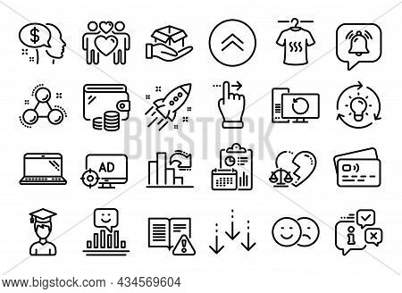 Vector Set Of Smile, Laptop And Love Couple Line Icons Set. Calendar Report, Money Wallet And Credit