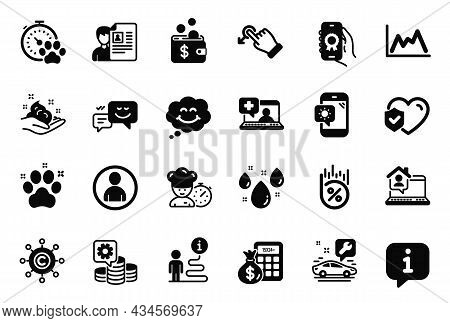 Vector Set Of Business Icons Related To Medical Help, Smile And Car Service Icons. Rainy Weather, Pe