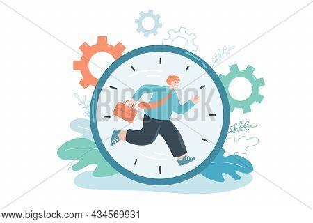 Cartoon Person Running Inside Clock Dial. Flat Vector Illustration. Employee With Portfolio Striving