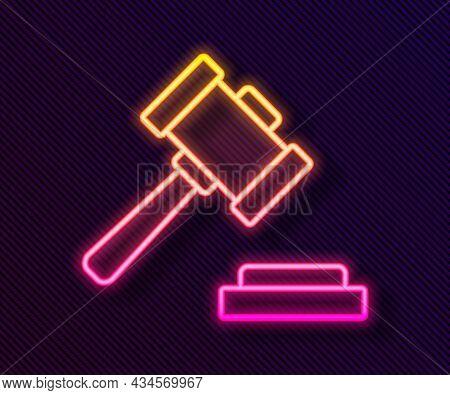 Glowing Neon Line Judge Gavel Icon Isolated On Black Background. Gavel For Adjudication Of Sentences