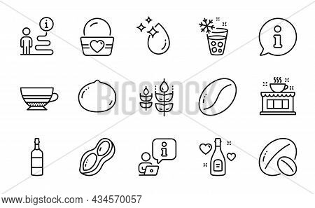 Food And Drink Icons Set. Included Icon As Coffee Beans, Ice Maker, Water Drop Signs. Gluten Free, C