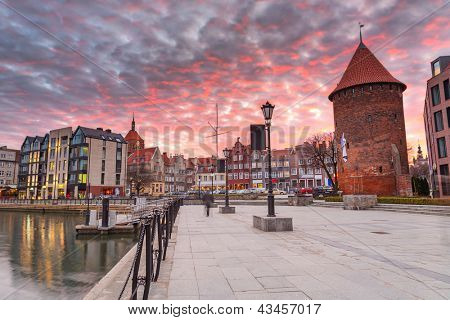 Sunset in old town of Gdansk at Motlawa river, Poland