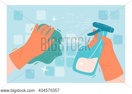 Hands In Gloves Using Spray To Clean Tiles. Cartoon Person Washing Surface In Bathroom Or Kitchen, S