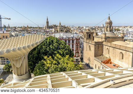 Wooden Roof Called Setas De Sevilla And Amazing Panoramic View Of The City, Seville, Spain