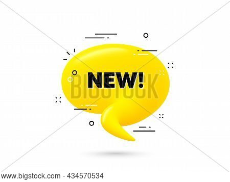 New Text. Yellow 3d Chat Bubble. Special Offer Sign. New Arrival Symbol. Arrivals Minimal Talk Ballo