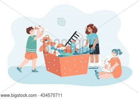 Happy Children Playing Next To Giant Box With Toys. Flat Vector Illustration. Girls And Boy Having F