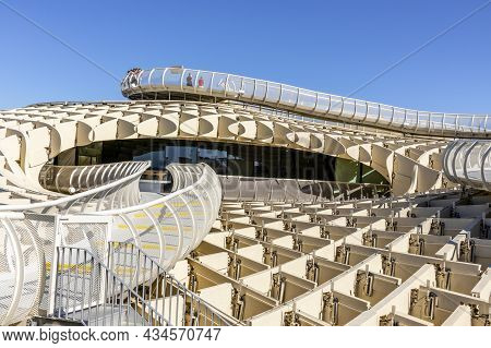 Architectural Detail Of Setas De Sevilla - Wooden Roof With Walkways In Seville, Andalusia, Spain