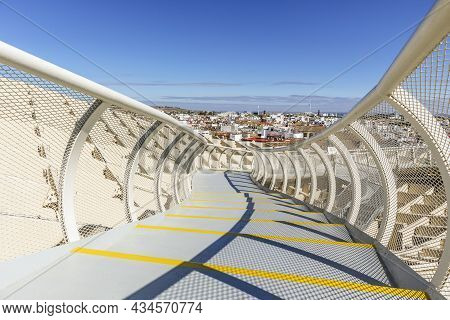 Seville Skyline With Wooden Roof With Walkways Called Setas De Sevilla In The Foreground, Spain