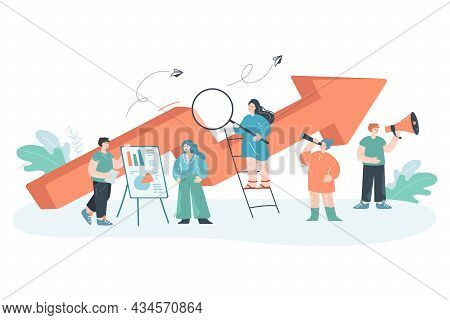 Team Of Analysts Working On Business Project. Flat Vector Illustration. Tiny Business People Working