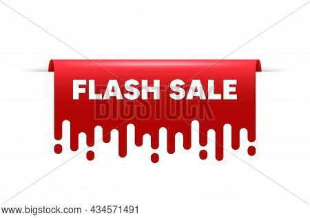Flash Sale. Red Ribbon Tag Banner. Special Offer Price Sign. Advertising Discounts Symbol. Flash Sal