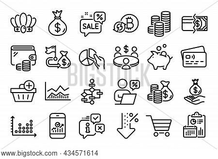 Vector Set Of Trade Infochart, Discounts Bubble And Money Bag Line Icons Set. Calendar Report, Money