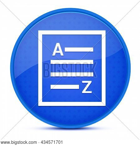 A-z(list Page Icon) Aesthetic Glossy Blue Round Button Abstract Illustration