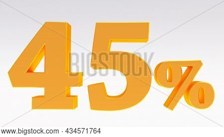 3d Render Of A Gold 45 Percent Isolated On White Background, Golden Forty Five Percent