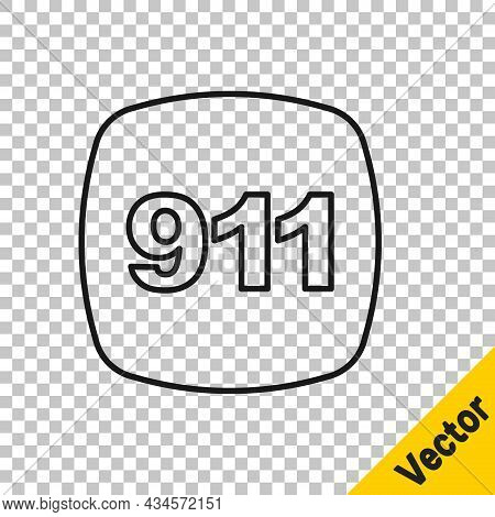 Black Line Telephone With Emergency Call 911 Icon Isolated On Transparent Background. Police, Ambula