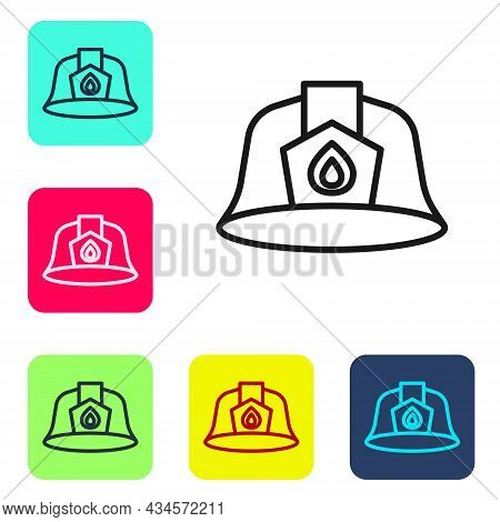 Black Line Firefighter Helmet Or Fireman Hat Icon Isolated On White Background. Set Icons In Color S