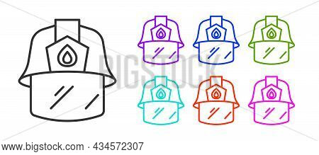 Black Line Firefighter Helmet Or Fireman Hat Icon Isolated On White Background. Set Icons Colorful.