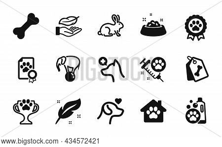 Vector Set Of Pets Care, Dog Competition And Winner Cup Icons Simple Set. Dog Certificate, Pet Shelt