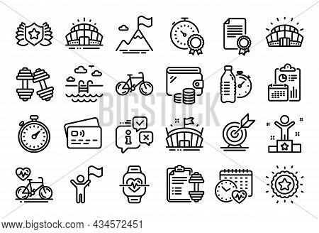 Vector Set Of Bicycle, Cardio Calendar And Sports Stadium Line Icons Set. Calendar Report, Money Wal