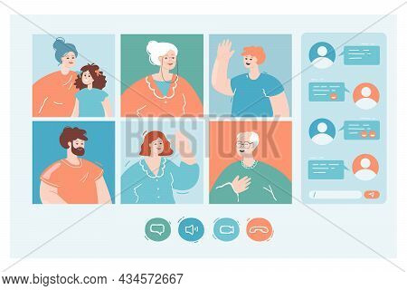 Family Video Call And Online Chat. Flat Vector Illustration. Parents, Grandparents, Children, Family