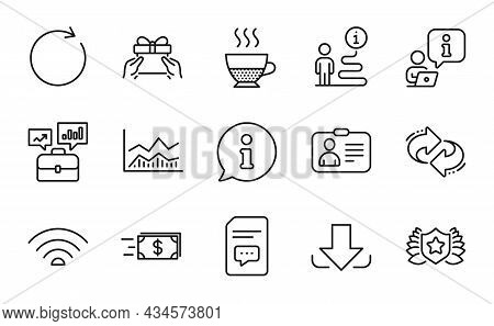 Line Icons Set. Included Icon As Synchronize, Money Transfer, Laureate Signs. Business Portfolio, Do