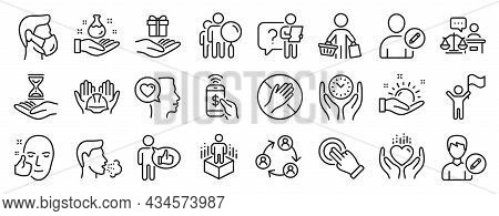 Set Of People Icons, Such As Safe Time, Dont Touch, Court Judge Icons. Like, Edit User, Search Peopl