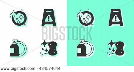 Set Sponge, Washing Dishes, Dishwashing Liquid Bottle And Wet Floor Icon. Vector
