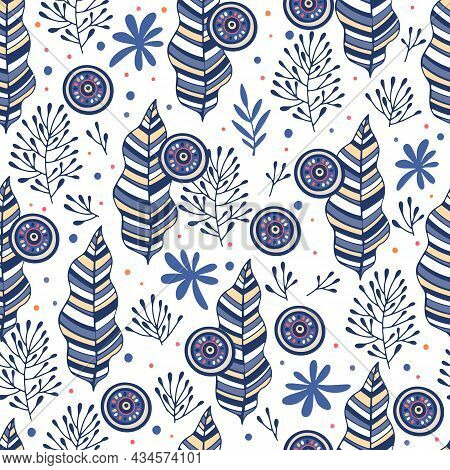 Blue Doodle Pattern Outline Hand Drawn Vector. Floral Seamless Texture. Abstract Leaf Plant Design