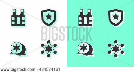Set Hexagram Sheriff, Bulletproof Vest, And Police Badge Icon. Vector