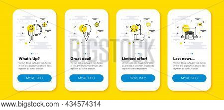 Vector Set Of Ice Cream, Waiting And Leadership Line Icons Set. Ui Phone App Screens With Line Icons