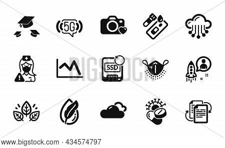 Vector Set Of Line Chart, Cloudy Weather And Organic Tested Icons Simple Set. Throw Hats, Startup An